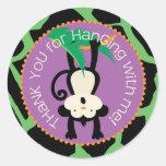 Jungle Monkey Birthday Gift Label Wild Classic Round Sticker