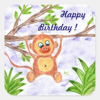 Jungle monkey birthday stickers
