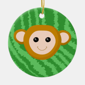 Jungle Monkey, Face. Christmas Tree Ornament