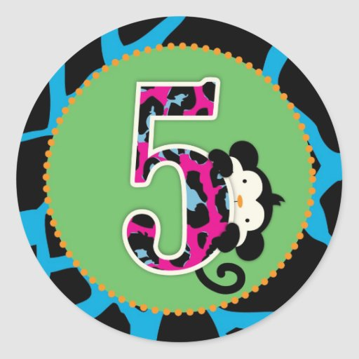 Jungle Monkey Fifth Birthday Cupcake Topper Wild Classic Round Sticker