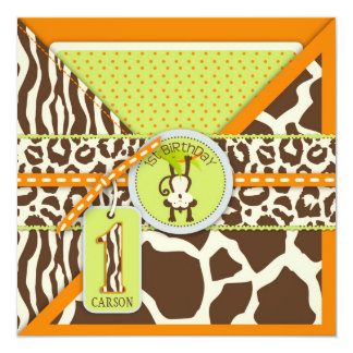 Jungle Monkey First Birthday Invitation Orange