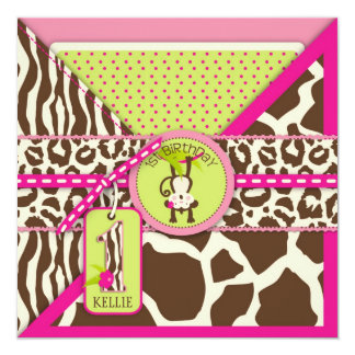 Jungle Monkey First Birthday Invitation Pink