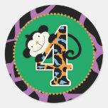 Jungle Monkey Fourth Birthday Cupcake Topper Wild Classic Round Sticker