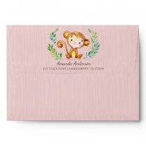 Jungle Monkey Girlsl Invitation Envelope