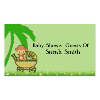 Jungle Monkey In Baby Carriage Baby Shower Business Card