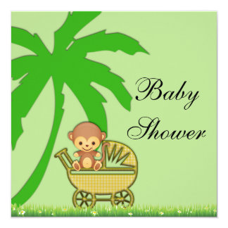 Jungle Monkey In Baby Carriage Baby Shower Card