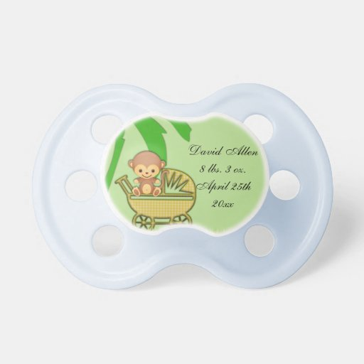 jungle monkey in baby carriage baby shower pacifier zazzle
