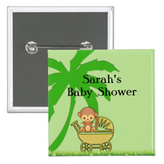 Jungle Monkey In Baby Carriage Baby Shower Pinback Button