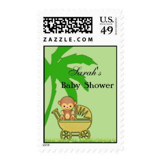 Jungle Monkey In Baby Carriage Baby Shower Postage
