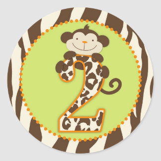 Jungle Monkey Second Birthday Cupcake Topper Orang Classic Round Sticker