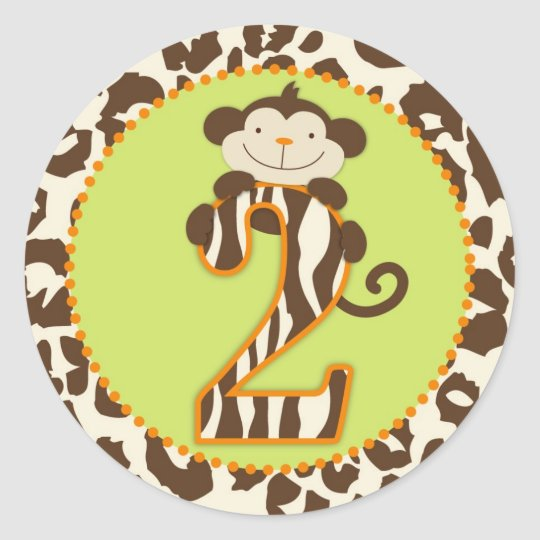 Jungle Monkey Second Birthday Cupcake Topper Orang Classic Round Sticker