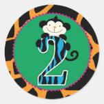 Jungle Monkey Second Birthday Cupcake Topper Wild Classic Round Sticker