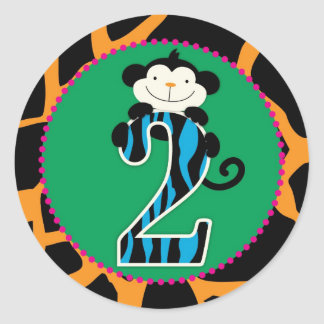 Jungle Monkey Second Birthday Cupcake Topper Wild Round Stickers