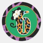 Jungle Monkey Sixth Birthday Cupcake Topper Wild Classic Round Sticker