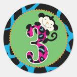 Jungle Monkey Third Birthday Cupcake Topper Wild Classic Round Sticker