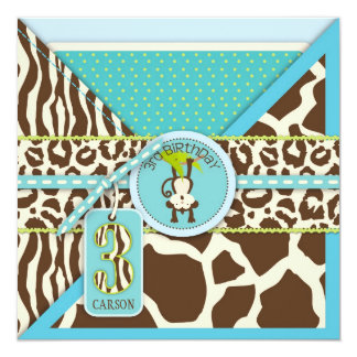 Jungle Monkey Third Birthday Invitation Blue