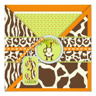 Jungle Monkey Third Birthday Invitation Orange