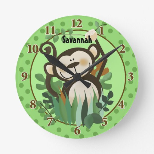 Jungle Monkey Wall Clock (Green) Add a Name
