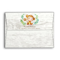 Jungle Monkey Wood Neutral Invitation Envelope