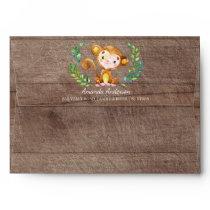 Jungle Monkey Wood Neutral Invitation Envelope