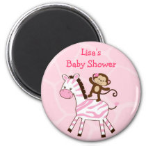 Jungle Monkey Zebra Baby Shower Favor Magnets