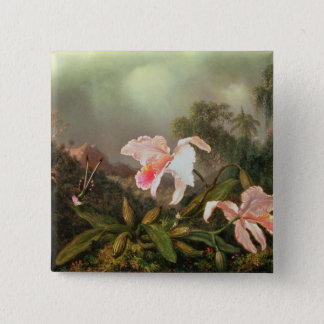 Jungle orchids and hummingbirds, 1872 button