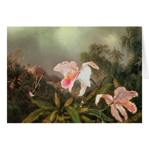 Jungle orchids and hummingbirds, 1872 card