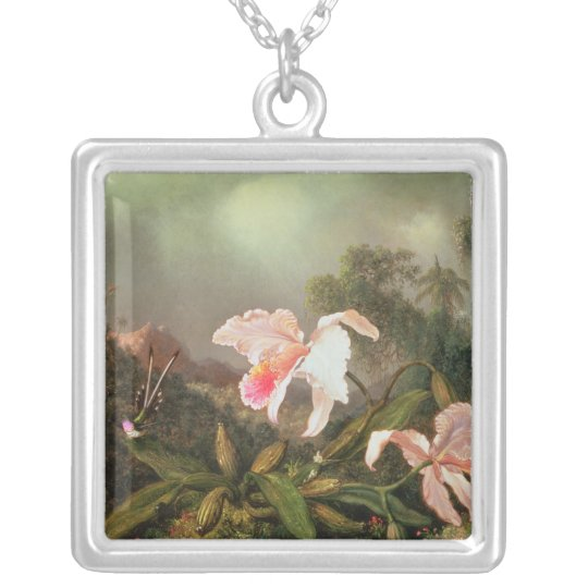 Jungle orchids and hummingbirds, 1872 silver plated necklace