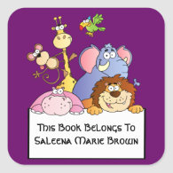 Jungle Pals Bookplate Square Sticker