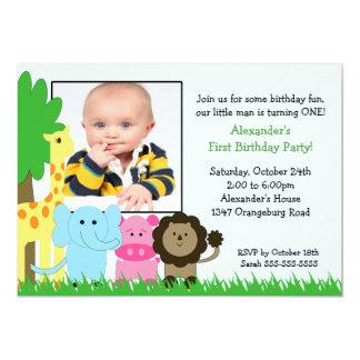 Jungle Pals Photo Birthday Invitation