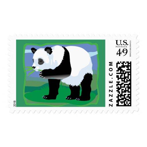 Jungle Panda Bear Postage Stamp