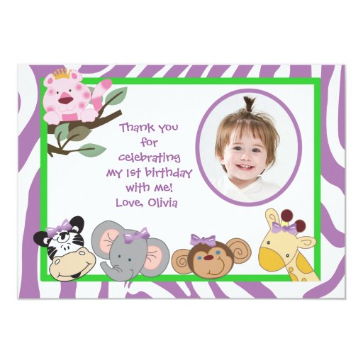 Jungle Party Animals Flat thank you note Card