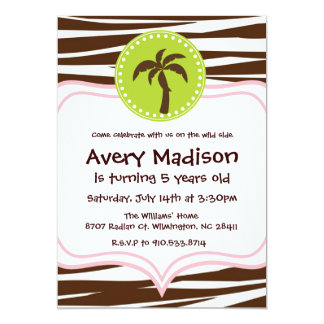Jungle Party - brown zebra light pink lime green 5x7 Paper Invitation Card
