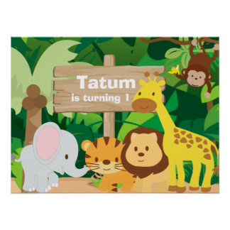 Jungle Party personalized backdrop poster