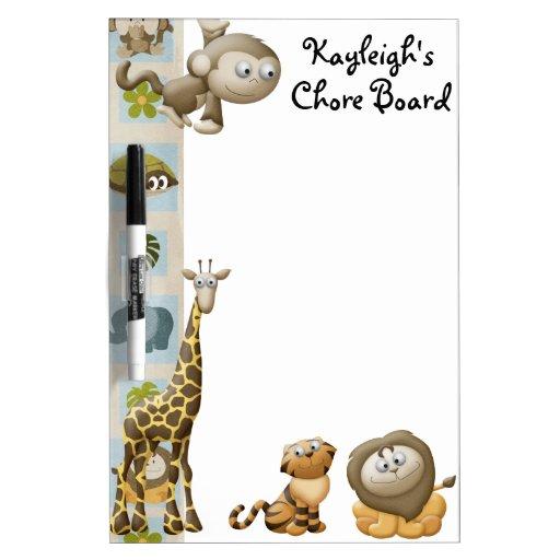 Jungle Personalized Chore Board Dry Erase Boards