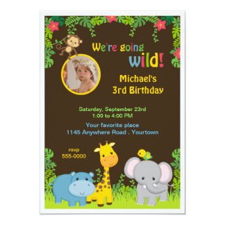 Jungle Photo Childs Birthday 5x7 Paper Invitation Card