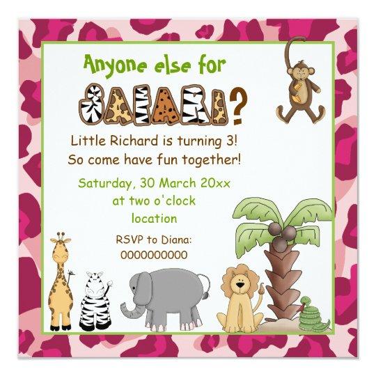 Jungle pink safari kids birthday party card