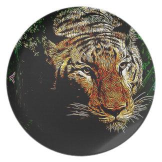 jungle predator wildlife safari animal wild tiger melamine plate