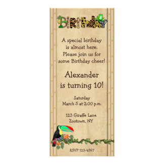 Jungle Print Frog Birthday Party Personalized Invite