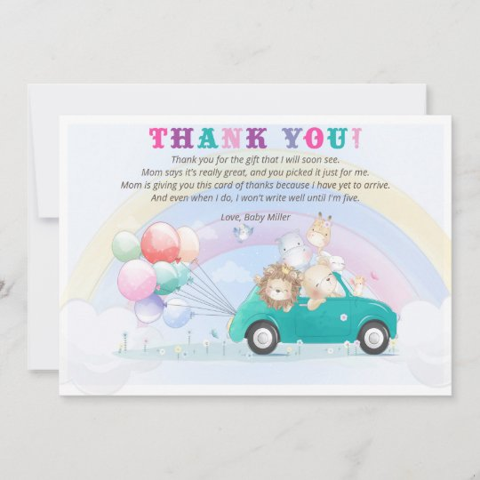 Jungle Rainbow Animals Baby Shower Thank You Card | Zazzle.com