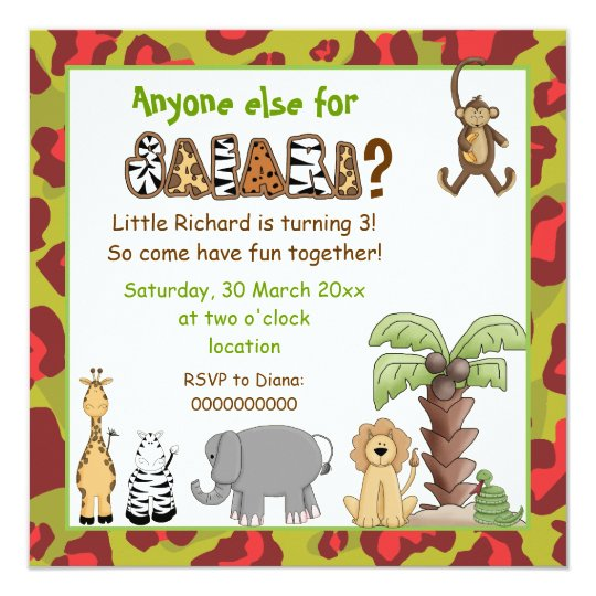 Jungle red, green safari kids birthday party card