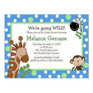 JUNGLE SAFARI ADVENTURE BLUE Baby Shower Invite Postcard