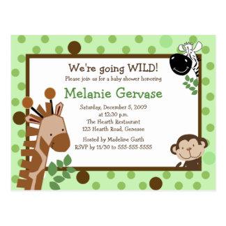 JUNGLE SAFARI ADVENTURE Green Baby Shower Invite Postcard