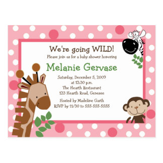 JUNGLE SAFARI ADVENTURE PINK Baby Shower Invite Postcard