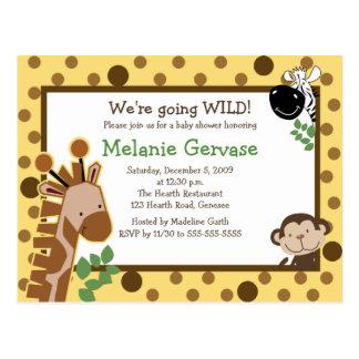 JUNGLE SAFARI ADVENTURE YELLOW Baby Shower Invite Postcard