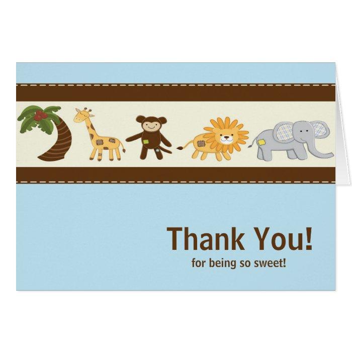 Jungle Safari Animal Blue Boy Baby Shower Greeting Cards