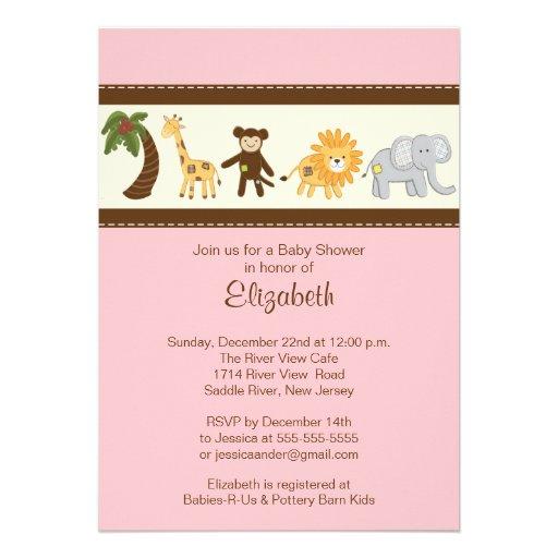 Jungle Safari Animal Girl Baby Shower Personalized Invitations