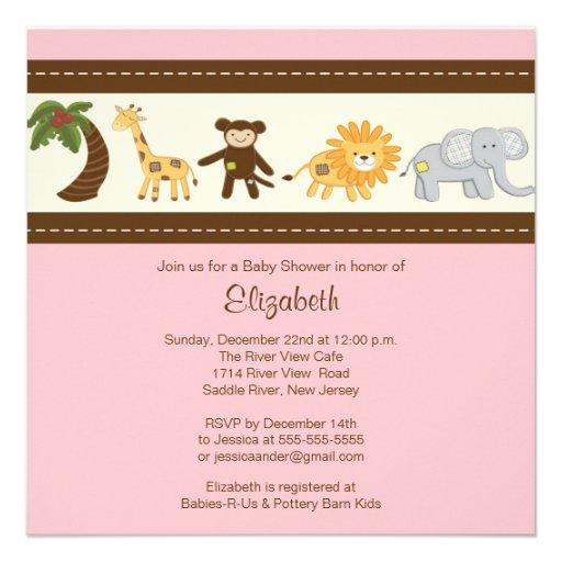 Jungle Safari Animal Girl Baby Shower Custom Announcement