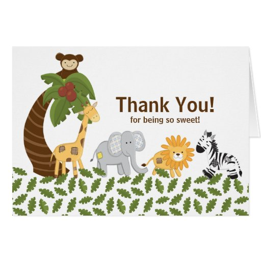 Jungle Safari Animal Neutral Baby Shower Stationery Note Card