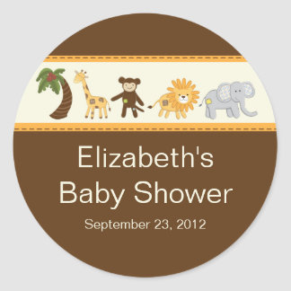 Jungle Safari Animal Neutral Baby Shower Classic Round Sticker